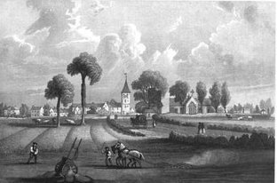 Old engraving of Coupar Angus looking north