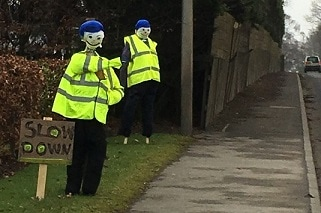 Photo of scarecrow police on Forfar Road, Coupar Angus