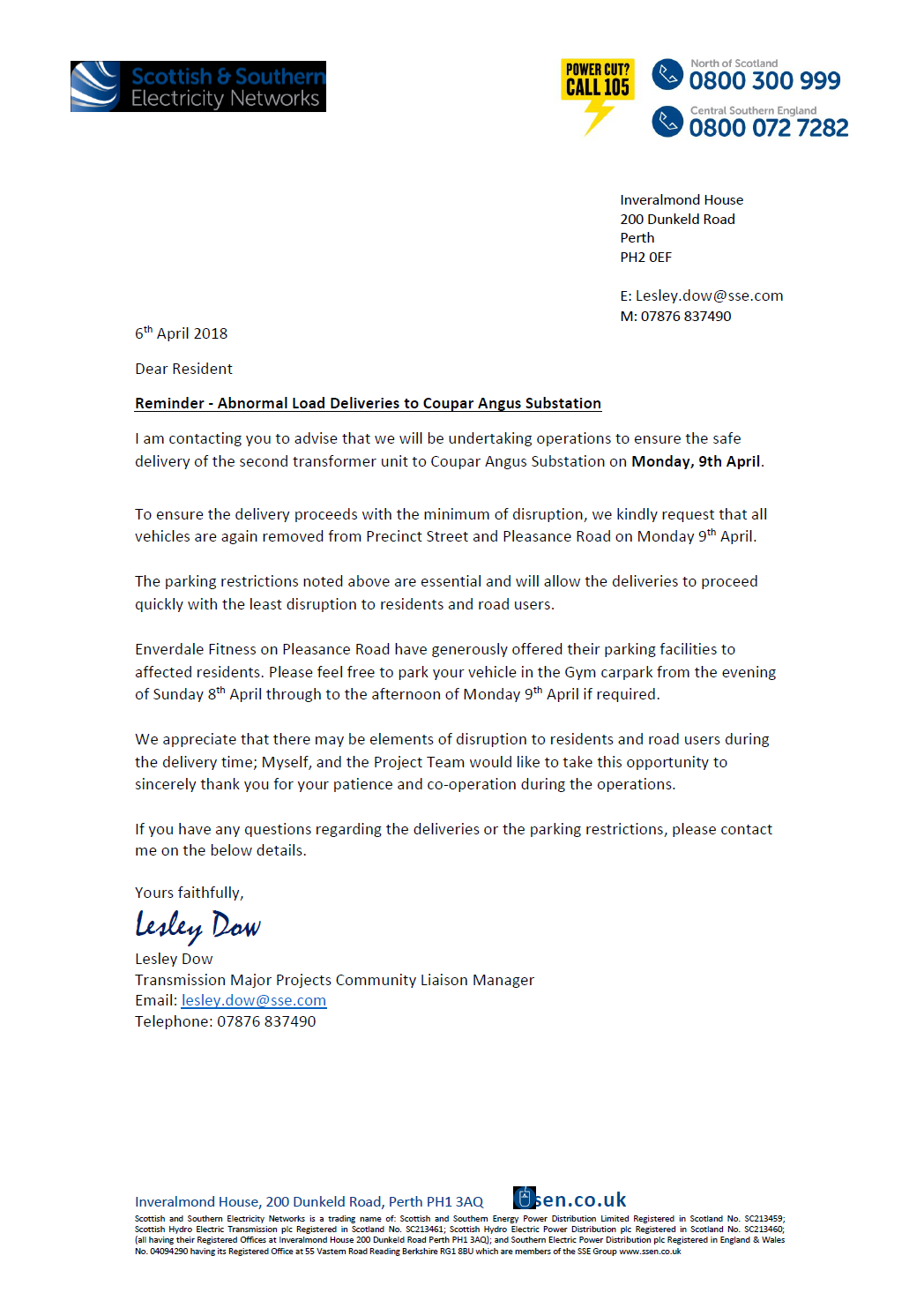 picture of letter from Scottish and Southern, asking residents of Precinct Street and Pleasance Road to move their cars to allow easy passage of a second transformer on Monday 9th April 2018.